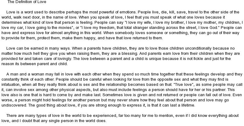 love definition essay | Docoments Ojazlink