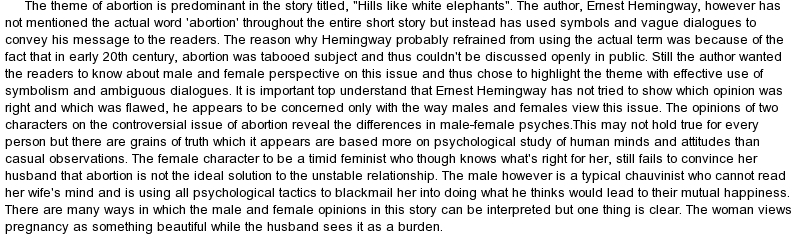 "hills like white elephants point view essays Study questions to ""hills like white elephants"" essays each of these essays is written from a different critical point of view."