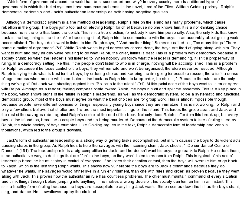 Lord of the Flies Essay Funny