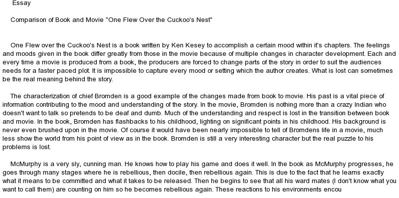 one flew over the cuckoos nest 2 essay In 1962 ken kesey wrote the book one flew over the cuckoo's nest this book has been filmed in the book and in the film there are several examples of symbolism.