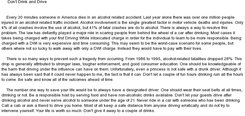 drinking and driving essays docoments ojazlink  persuasive essay on drunk driving