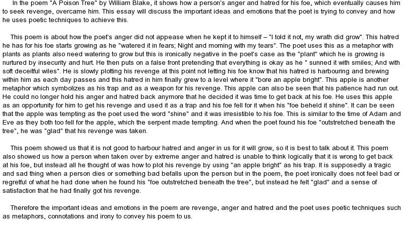 william blake a poison tree essay
