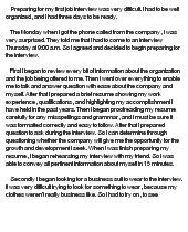 My first job essay