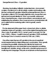 Pygmalion social class essay