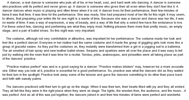 descriptive essays on dancing The connection between writing and dancing has been much on my mind  recently: it's a channel i want to keep open it feels a little neglected.