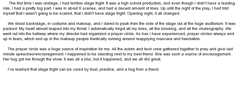 overcoming stage fright essay