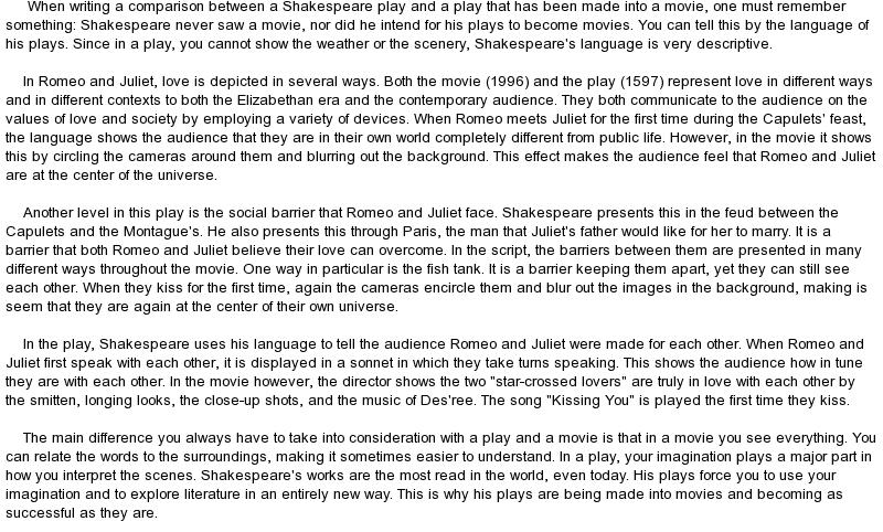 Essay on romeo and juliet movie comparison