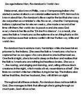 "essay about mary rowlandson The faith of mary rowlandson in her writing titled ""a narrative of the captivity and restauration of mrs mary rowlandson"", mary lies out for the reader her experience of being held in captivity by indians during the king philip's war."