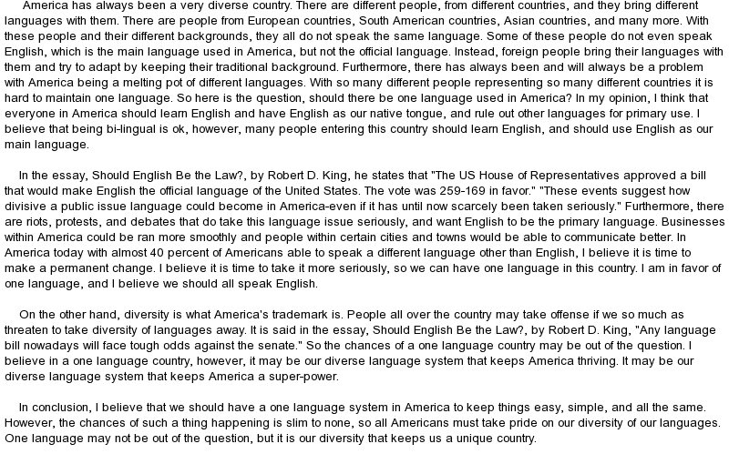 essay on english should be made the official language Leading the movement to make english the official language of the united states since 1993 87 percent of whom believe english should be our official language.
