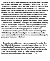 the adventures of tom sawyer essay Comparison of huck finn and tom sawyer essaysadventures of huckleberry finn, by mark twain, is often considered to be the sequel of another twain work, the adventures of tom sawyer both tell the tale of young boys living in the small town of st petersburg on the mississippi river huck appears i.