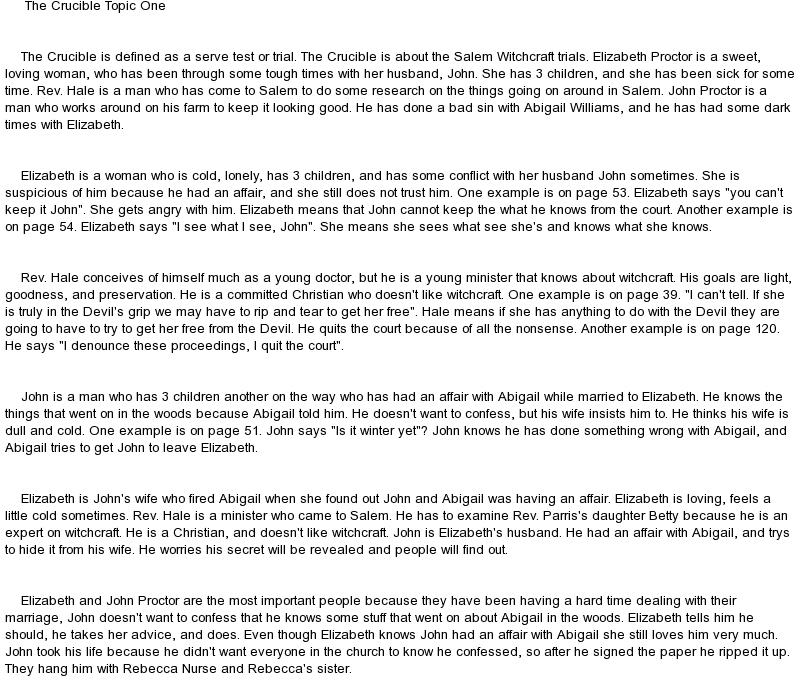 the crucible argumentative essay prompts Free essays on any topics: persuasive essay topics, argumentative essay topics, college essay topics, compare and contrast essay topics, controversial essay topics monday, april 16, 2012 the crucible: revered hale.