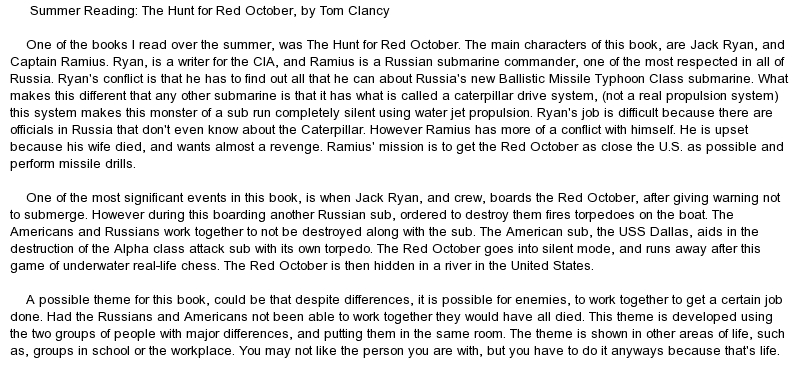 essays on the hunt for red october Tom clancy's the hunt for red october essay no works cited length: 948  words (27 double-spaced pages) rating: orange open document.