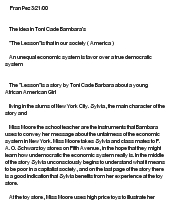 Essay on the lesson by toni