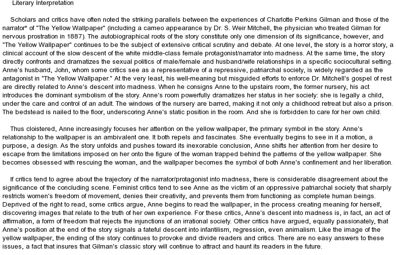 an analysis of a schizophrenic character in charlotte perkins gilmans the yellow wall paper 2009-1-7 the yellow wallpaper by charlotte perkins gilman  charlotte the yellow wallpaper  she paints herself to look just like the wall paper and tree outside the.