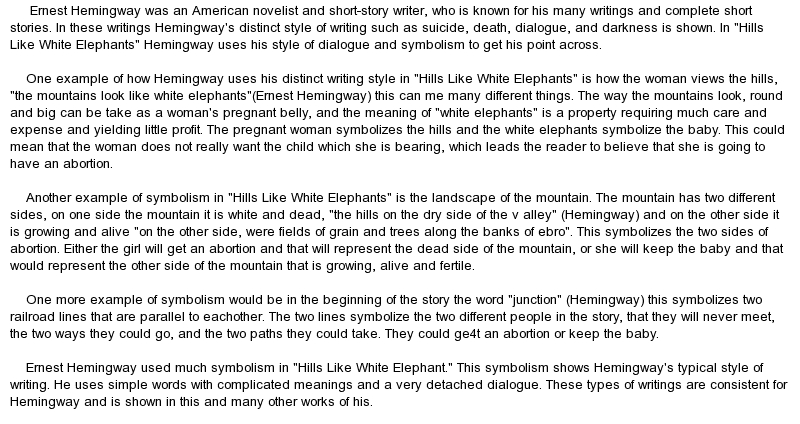 a literary analysis of the curse in hills like white elephants by ernest hemingway Ecocritical reading of hemingway's hills like analysis of a short story by ernest hemingway, hills like white elephants literary critics.