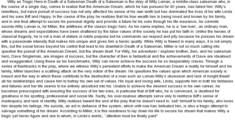 death of a salesman flaws essay Everything you ever wanted to know about willy loman in death of a salesman this word is often translated as tragic flaw in arthur miller's famous essay.