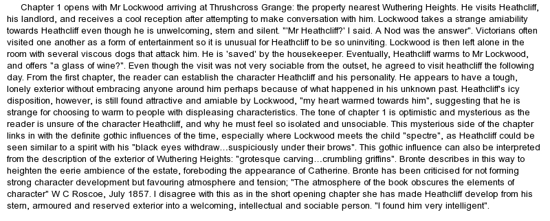 wuthering heights essay example How is love connected to vengeance in emily bronte's wuthering heights wuthering heights' is one of the most well-liked and highly regarded novels in british literature.