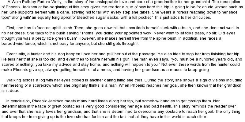 A worn path setting essay
