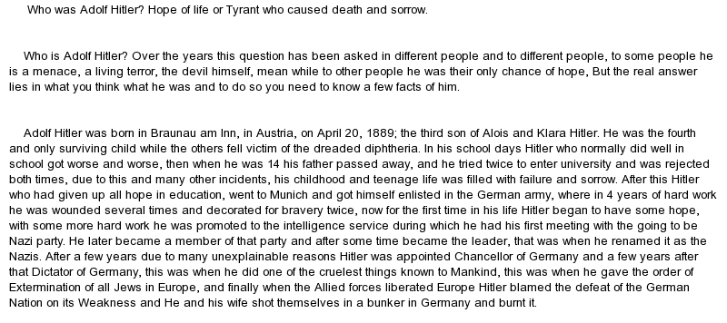 adolf hitler 2 essay Find out some about one of the most dangerous leaders in world war 2, adolf hotler lots of facts about adolf hitler and some of his biggest decisions during the war.