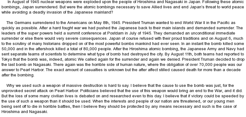atomic bomb 7 essay The unnecessary atomic bombing of japan essay atomic bombing of hiroshima essay dropped the atomic bomb on hiroshima, but i disagree that it was the right move.