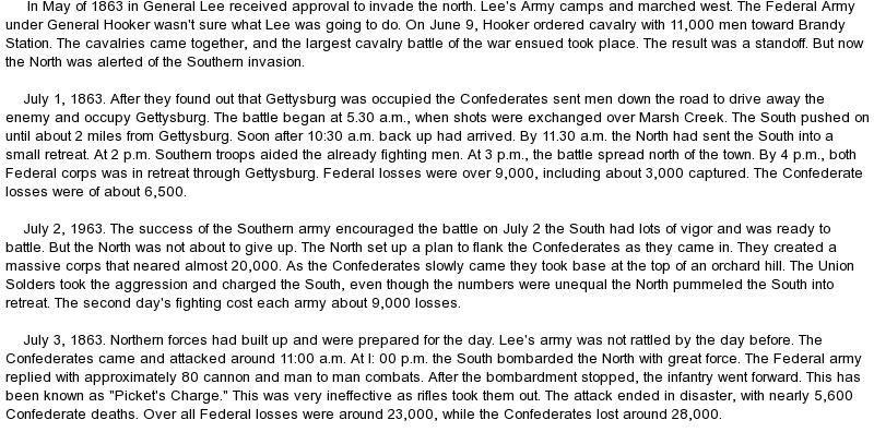 essay on Battle of Gettysburg