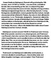 hatshepsut essay example Find out more about the history of hatshepsut, including videos, interesting articles,  possibly to erase her example as a powerful female ruler,.
