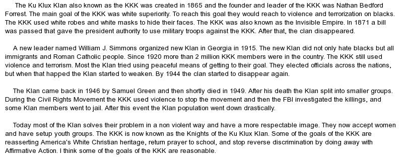 kkk essays research papers History: american term papers american research paper (ku klux klan essay) presented on this page should not be viewed as a sample of our on-line writing service.