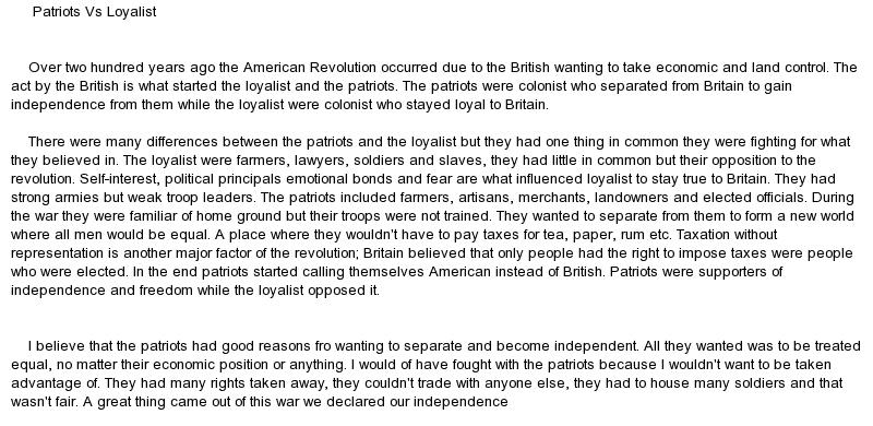 the patriots against the british essay