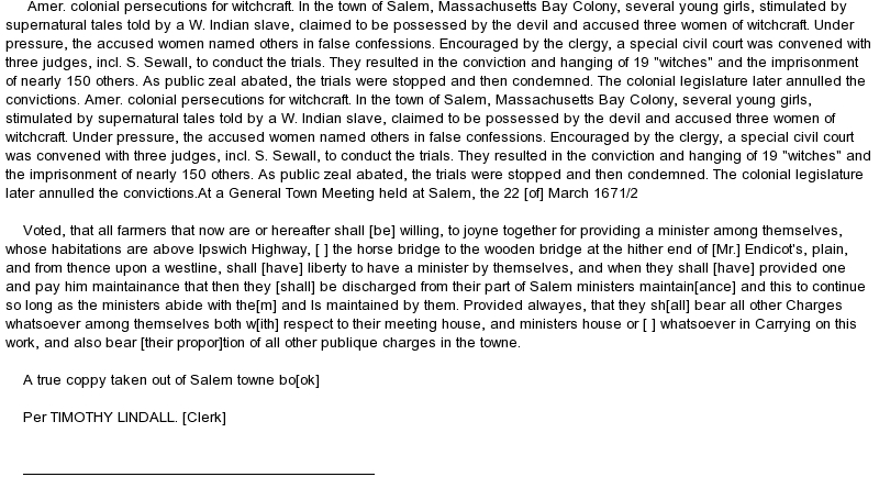 salem witch trials research paper The salem witch trials started in 1692 resulted in 19 executions and 150 accusations of witchcraft it was one of the first of many hysterical moments that this.