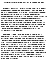 texas politics essay Texas's political culture is a combination of traditionalistic and individualistic subcultures - texas's political culture introduction the traditionalistic aspects of texas politics are a long history of one-party dominance in state politics, the low level of voter turnout, and social and economic conservatism.