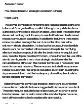 the atomic bomb a strategic decision in winning The psychology of nuclear restraint  of the truman administration's decision to drop the bomb as a means of winning the war  of the atomic bomb .