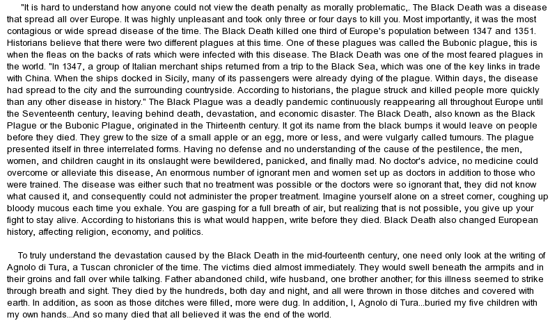 black plague essay example The plague that we know today as the black death was actually black death in 14th century europe history essay print this is not an example of the work.