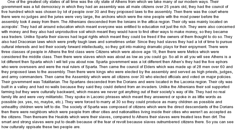 sparta and athens comparison essay