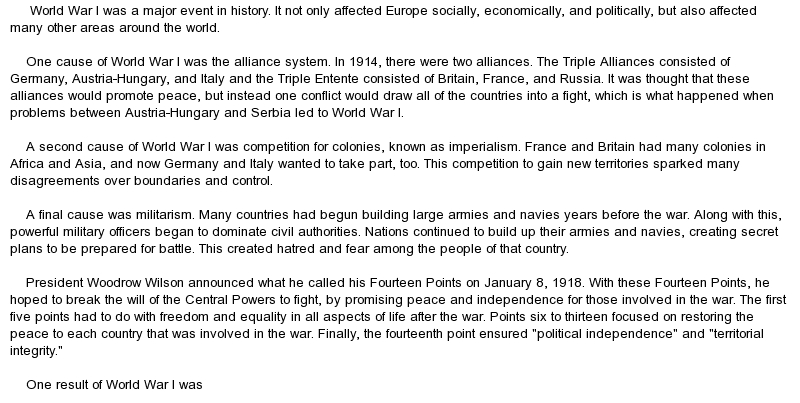 Good introduction for world war 1 essay coursework service