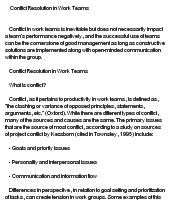 essay on conflict resolution
