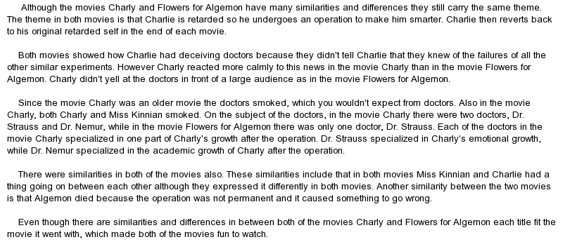 comparison and contrast of the movie charlie and flowers for algernon Awakenings versus flowers of algernon comparison and contrast by hugo duplain on 7 december 2010 tweet comments (0) please log the movie bases itself on his book awakenings based upon the novel of the same name written by daniel keyes.