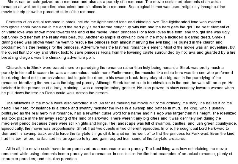 write essay shrek