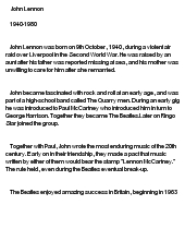 john lennon essays Read this essay on essay on john lennon come browse our large digital warehouse of free sample essays get the knowledge you need in order to pass your classes and more.