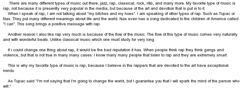 classification essay on rap music Classification/division:genres of music(group essay) dwyer such types of music is hip hop and rap this is a really good essay.