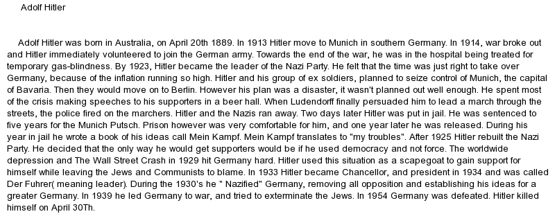 history essay on hitler