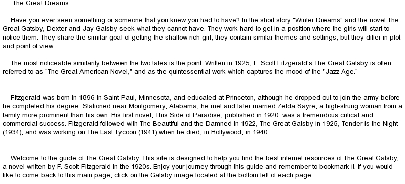 comparison essay on the great gatsby and winter dreams Suggested essay topics and study questions for f scott fitzgerald's the great gatsby perfect for students who have to write the great gatsby essays.