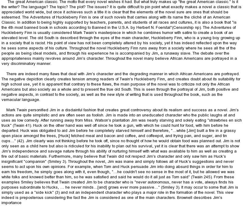 Huckleberry finn research paper english literature essay