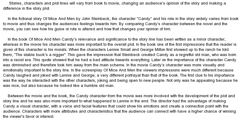 Of mice and men candy essay