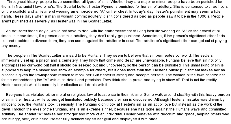 an account of misery inflicted puritanical women in the scarlet letter The scarlet letter (paperback the sorrow and pain inflicted but emerges as a self-sufficient hero in her puritanical hometown the scarlet letter is easily.