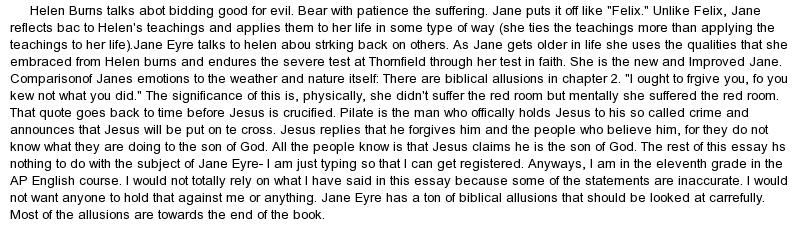jane eyre outline for essays