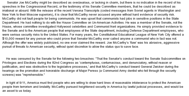 joe mccarthy essay Blacklisted by history: the untold story of senator joe mccarthy and his fight   the specter: original essays on the cold war and the origins of mccarthyism.