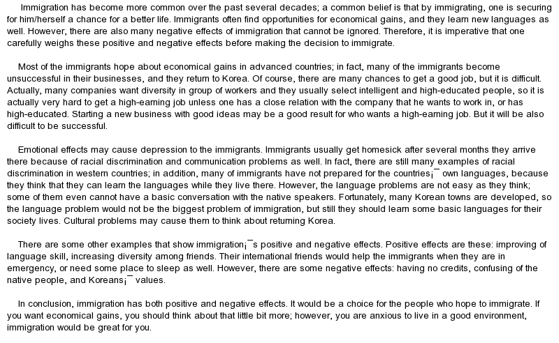 Essay on immigration policy