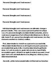 Essay on strength and weaknesses