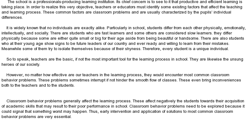 behaviour management in the classroom essay