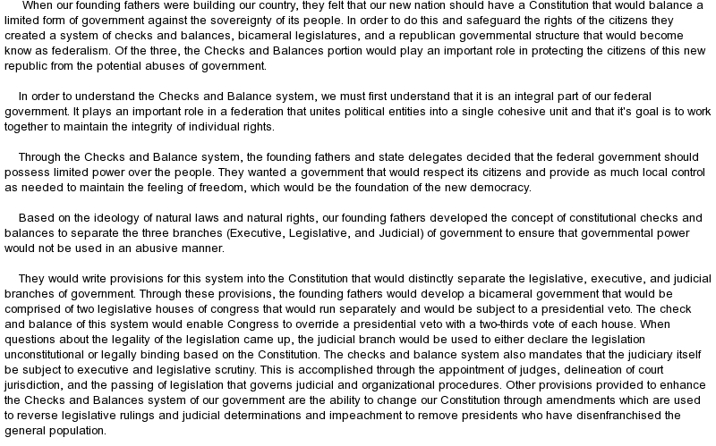 separation of powers and checks and balances essays
